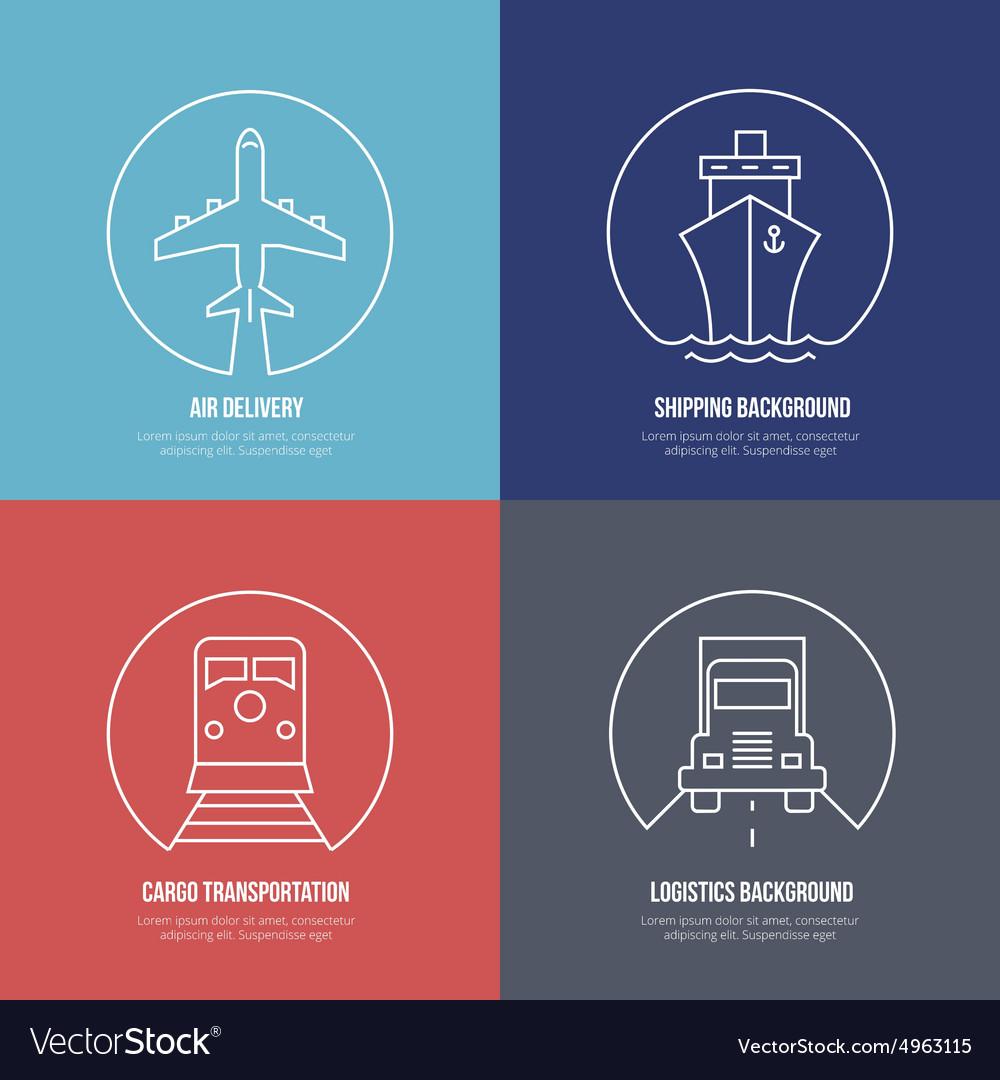 Logistics line icons Airmail cargo transportation