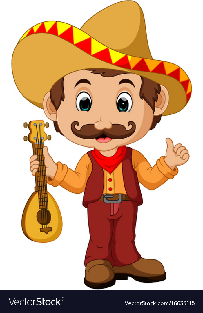 Mexican cartoon character with guitar