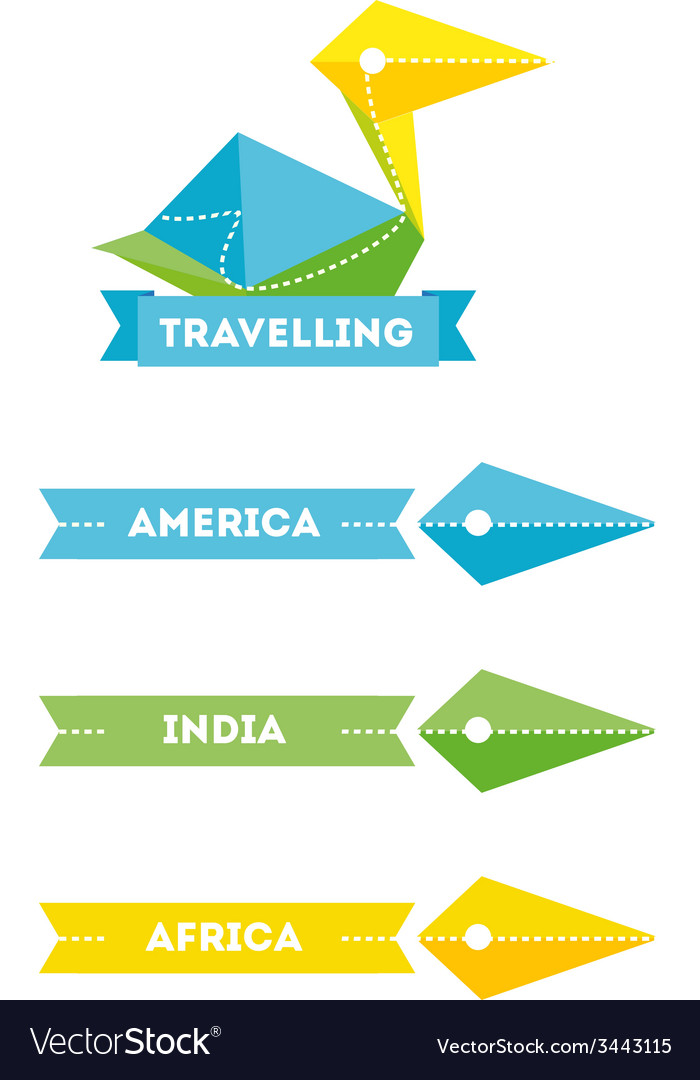 Modern bright creative travel company bird logo