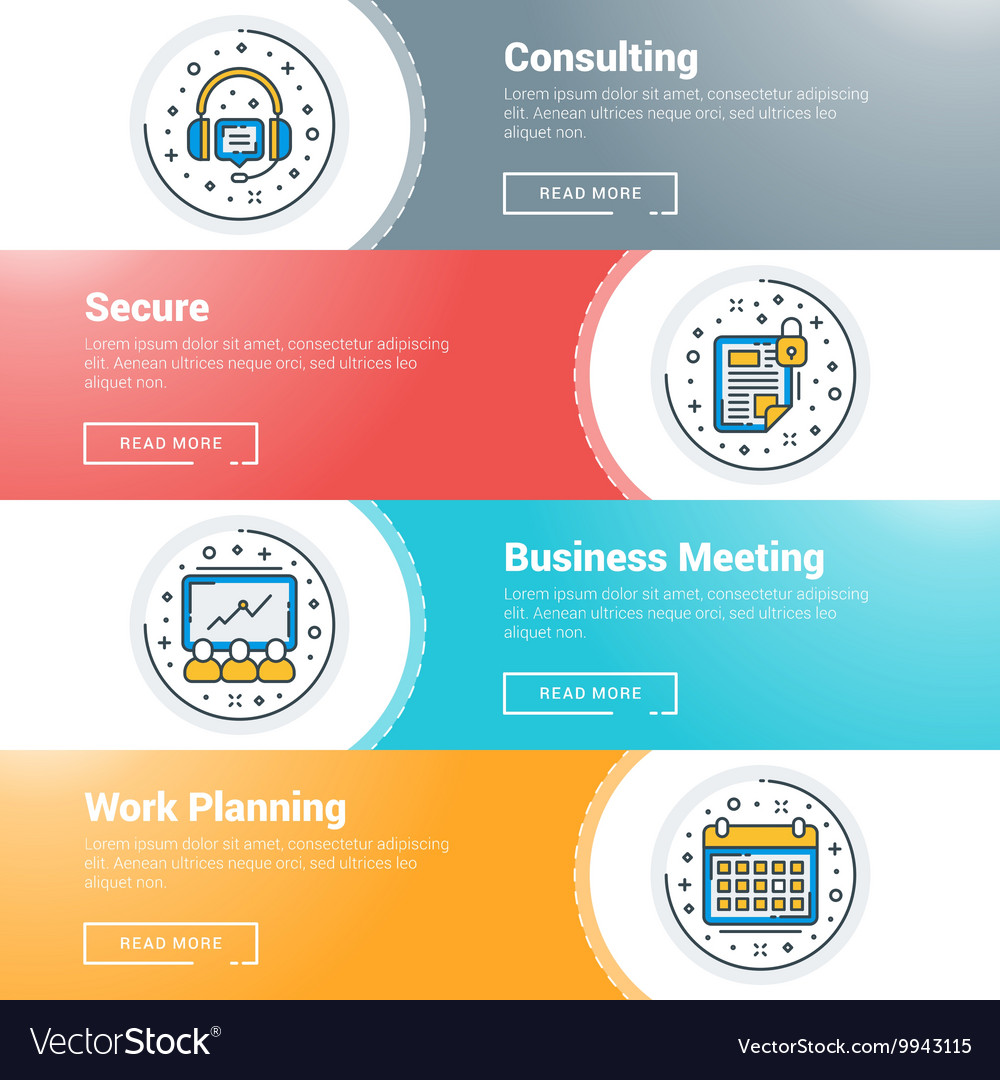 Set of flat line business website banner templates set of flat line business website banner templates vector image wajeb