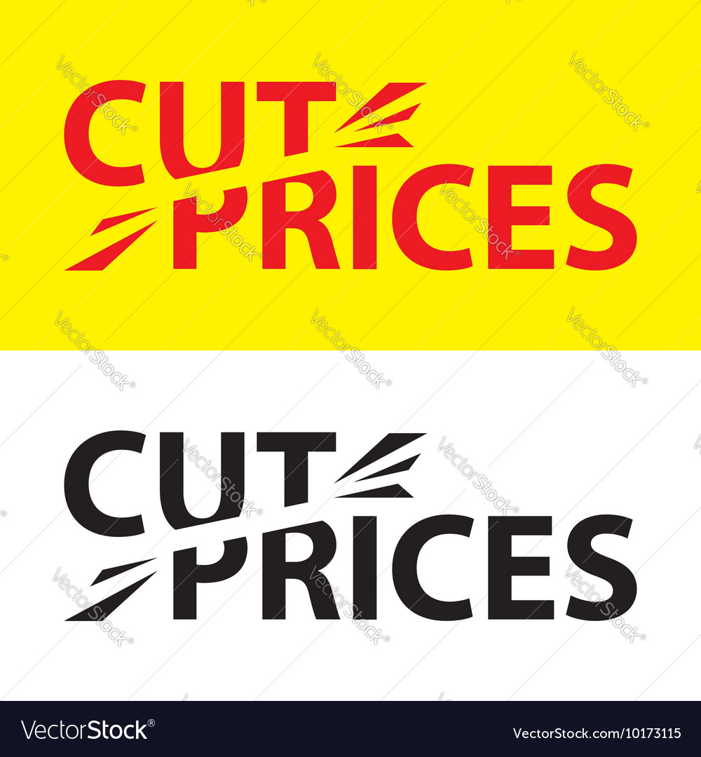 Set of labels with lettering cut price vector image
