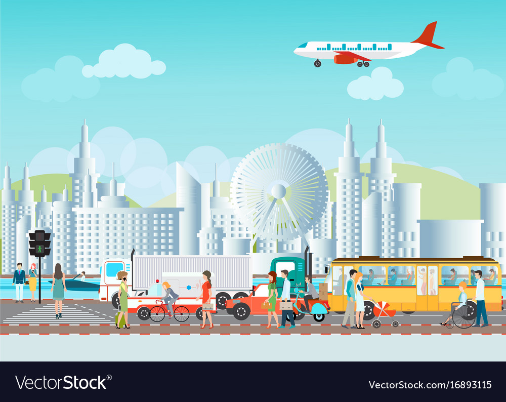 Set of transportation logistic and city traffic