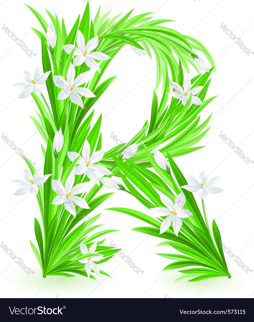 Spring flowers alphabet r