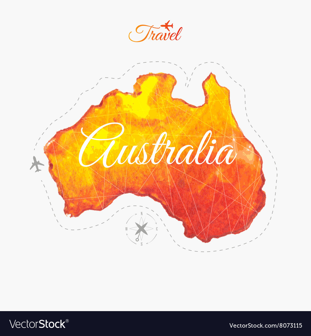 Travel around the world Australia Watercolor map