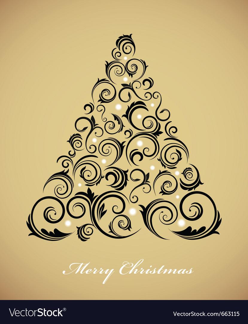 Vintage christmas tree with retro ornaments