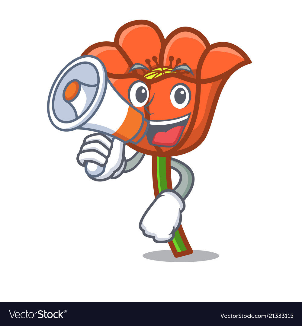 With Megaphone Poppy Flower Character Cartoon Vector Image