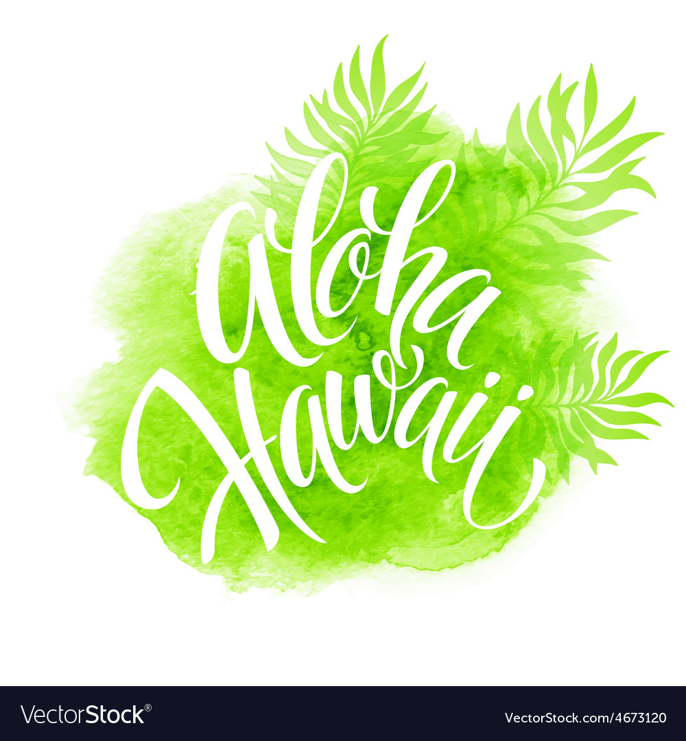 Aloha Hawaii palm leaves watercolor