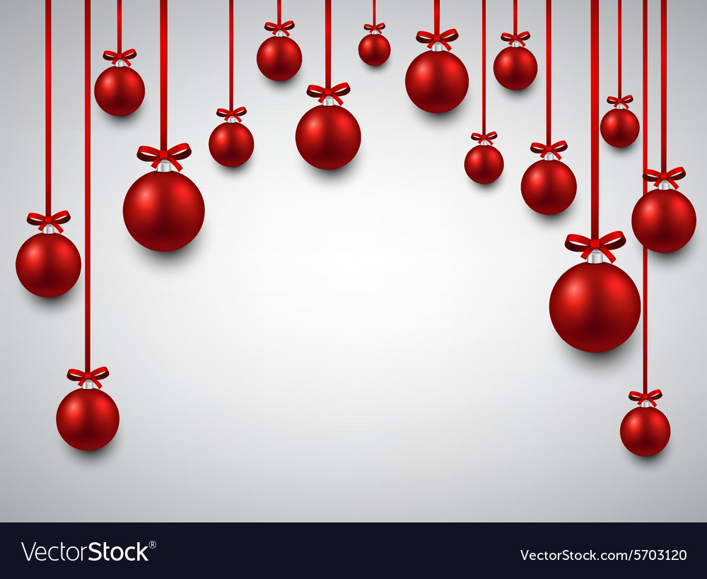 background with red christmas balls vector image - Red Christmas Balls