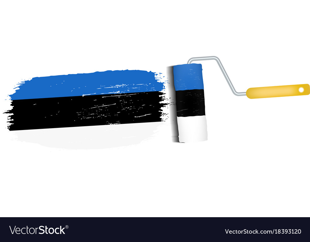 Brush stroke with estonia national flag isolated vector image