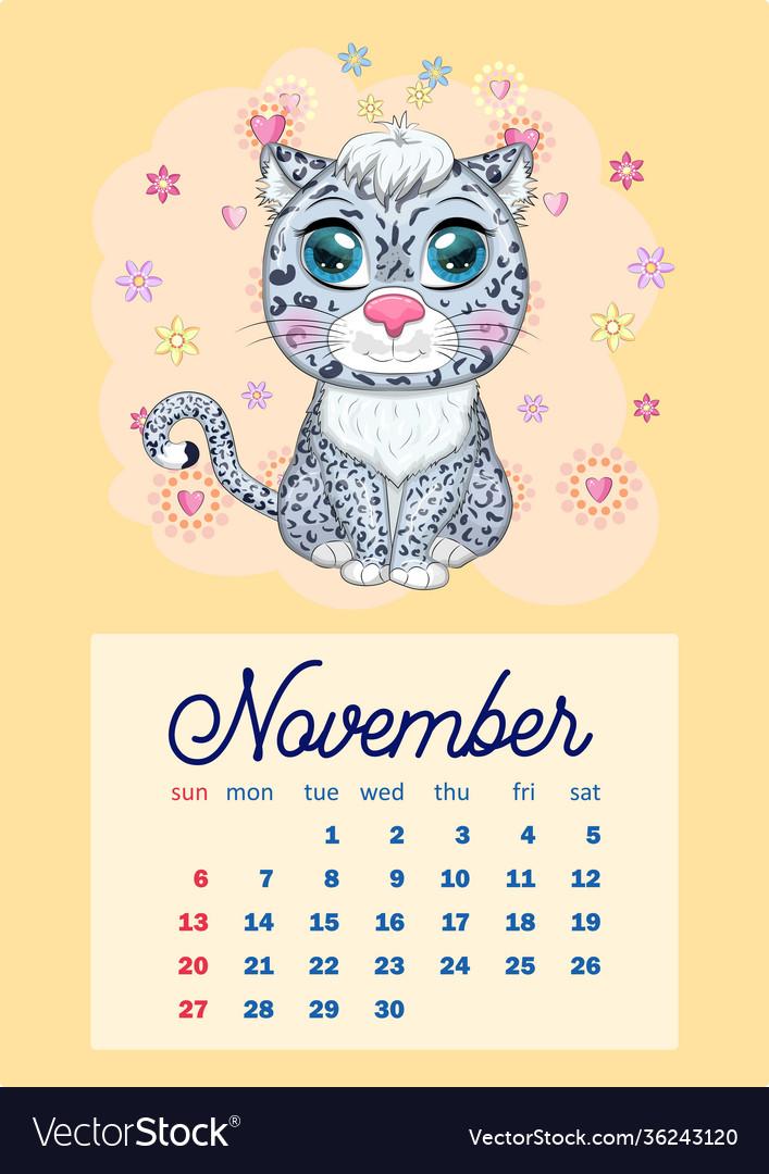 2022 Cow Calendar.Calendar 2022 With Cute Cardboard Animals For Vector Image