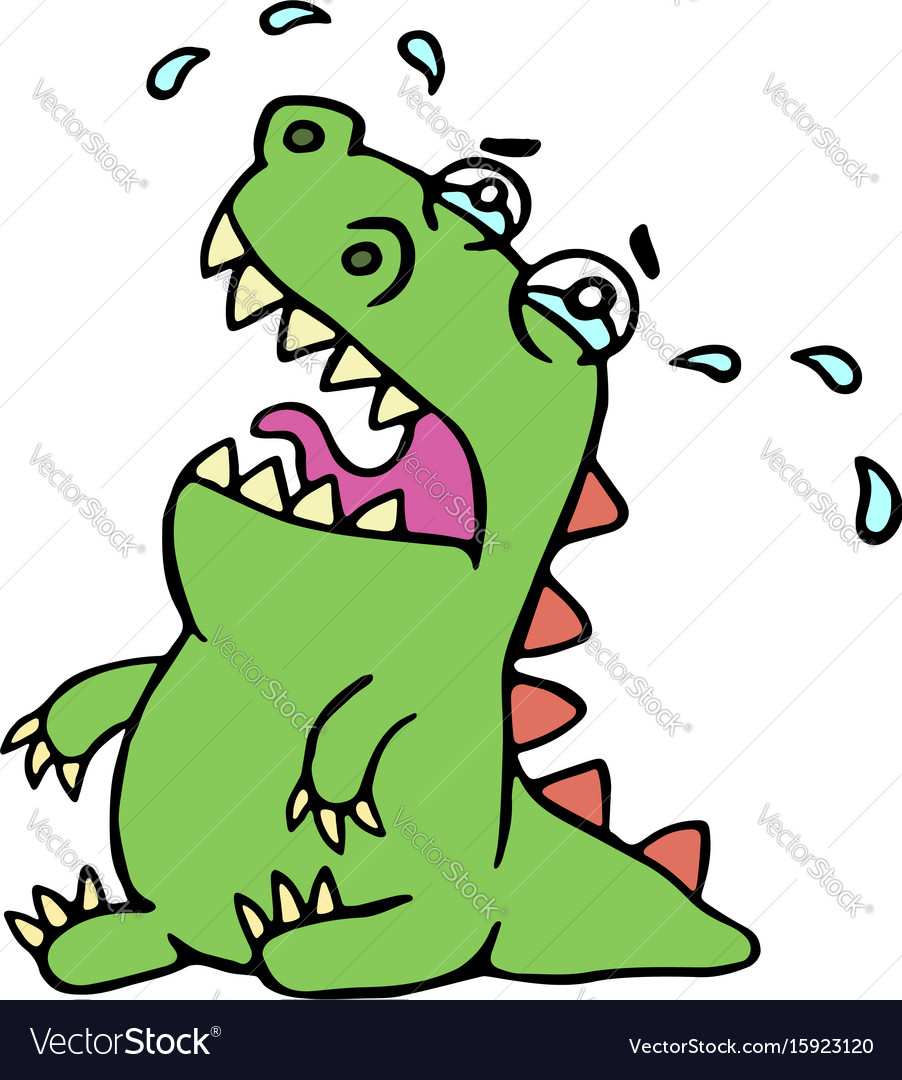 Cartoon crying dinosaur vector image