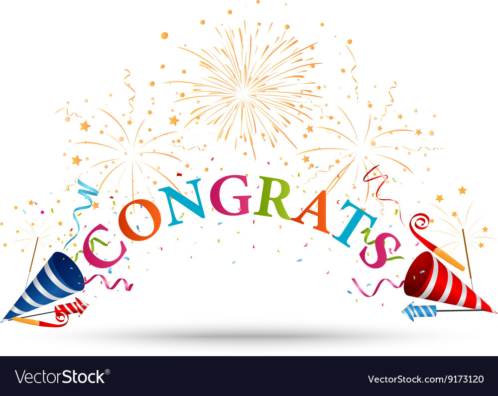 congratulations celebration with fireworks vector image