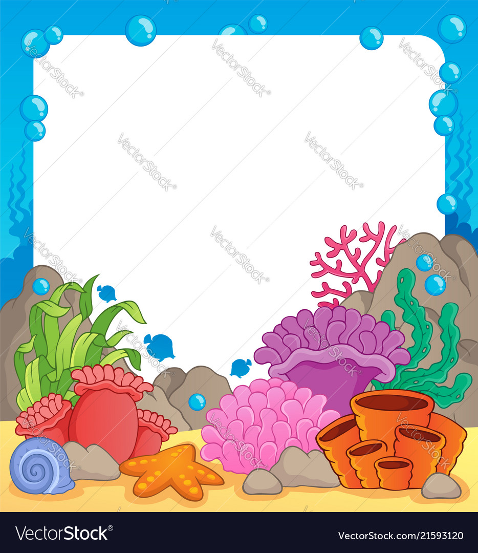 coral reef theme frame 1 royalty free vector image