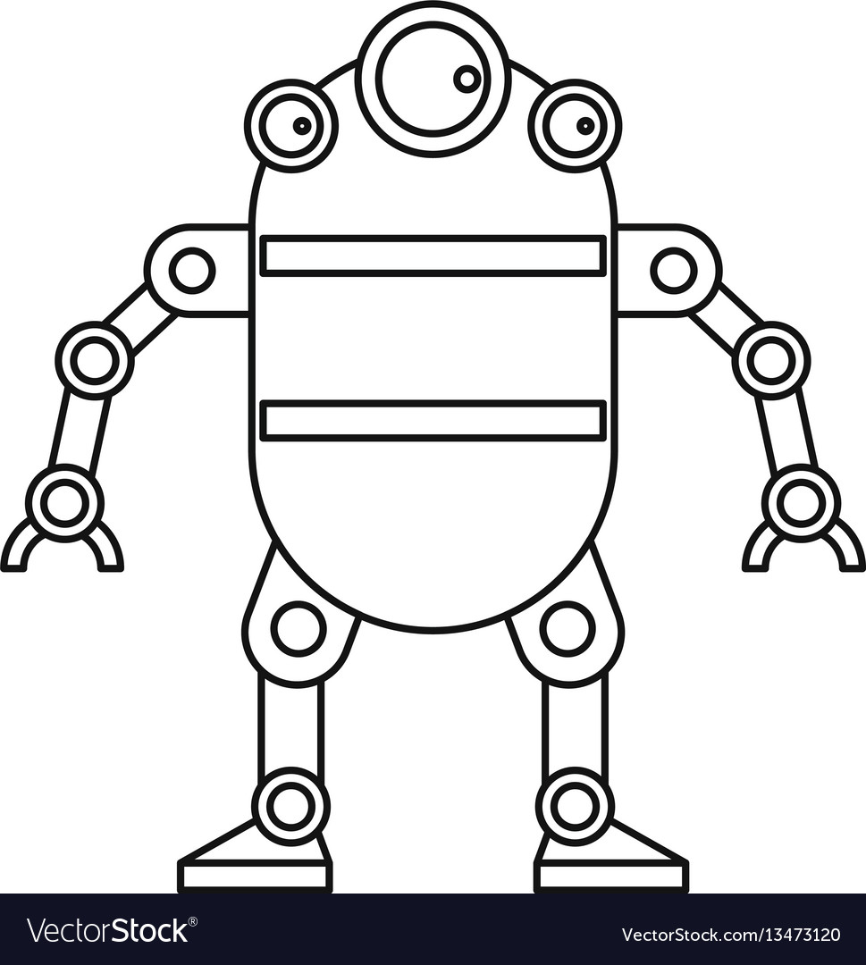 Cute robot icon outline style