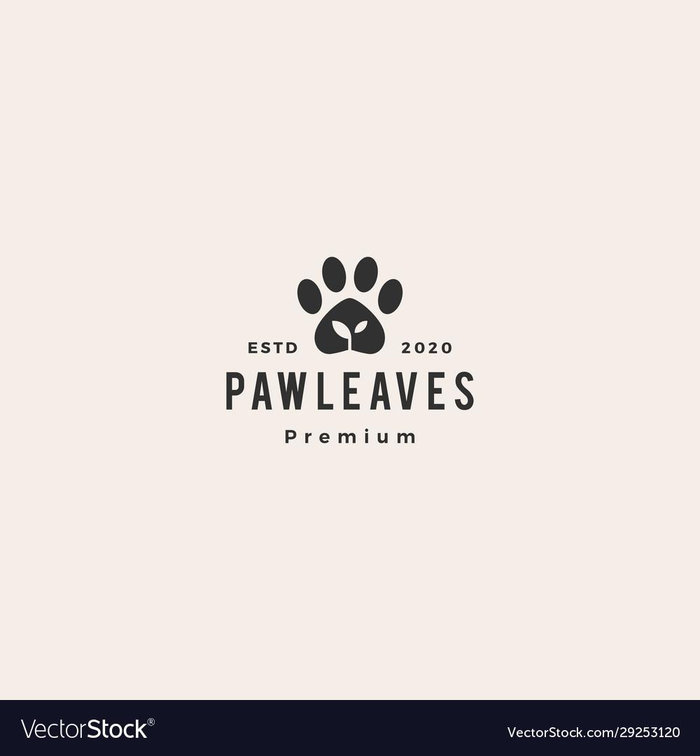 Paw leaf organic pet food logo icon hipster
