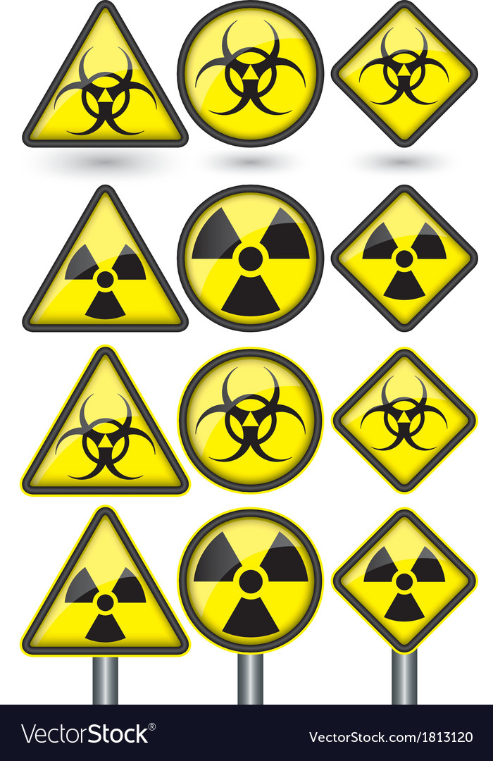 Radiation Sign Radiation Symbol Set Royalty Free Vector