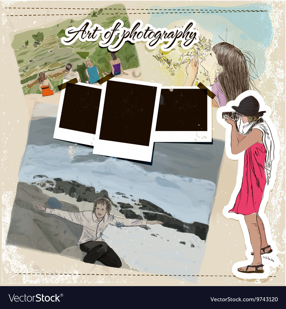 Scrap template with fashion photographer girl vector image