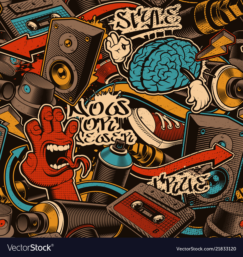 Seamless graffiti background vector image