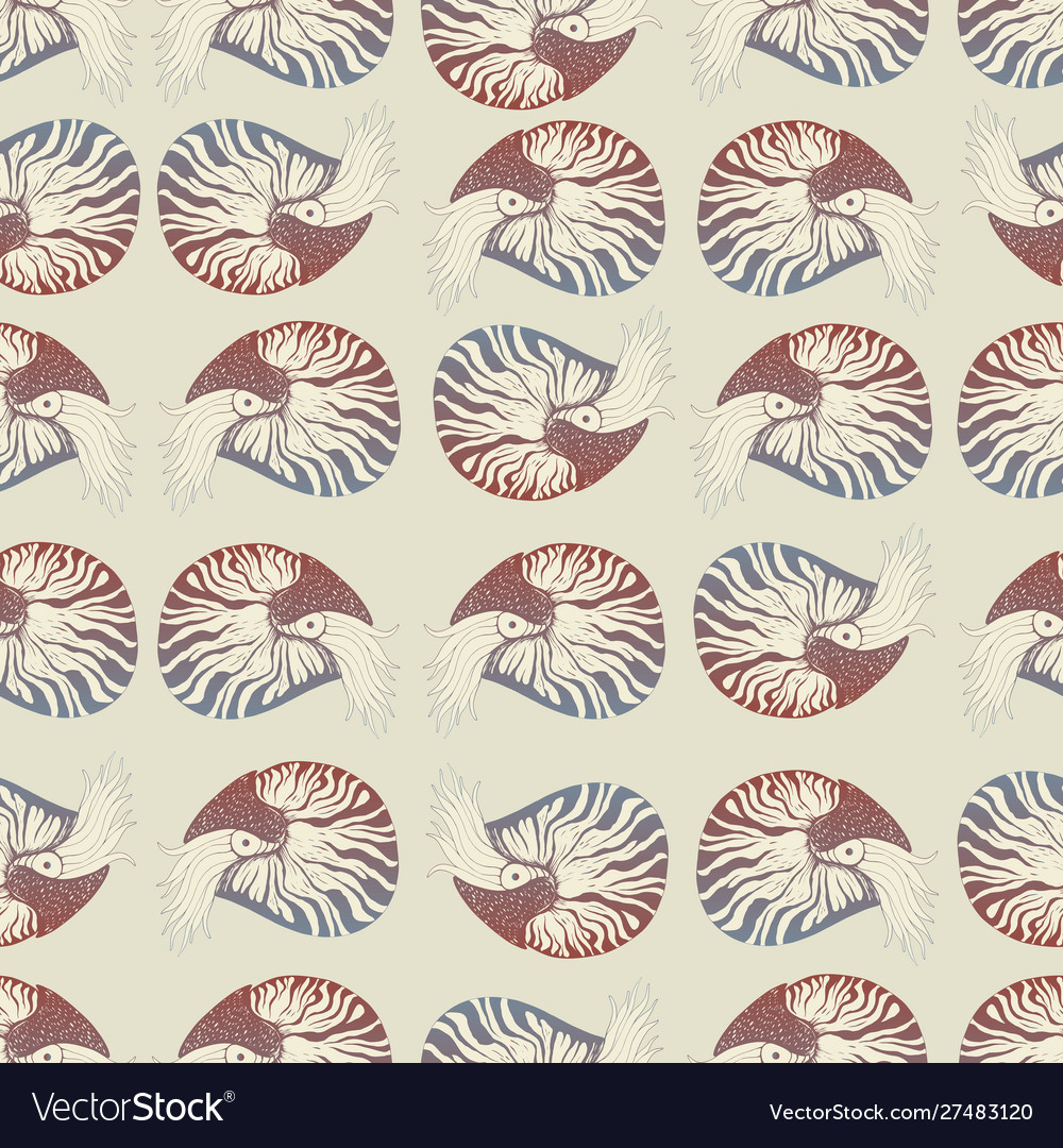 Seamless pattern with nautilus brown gray beige