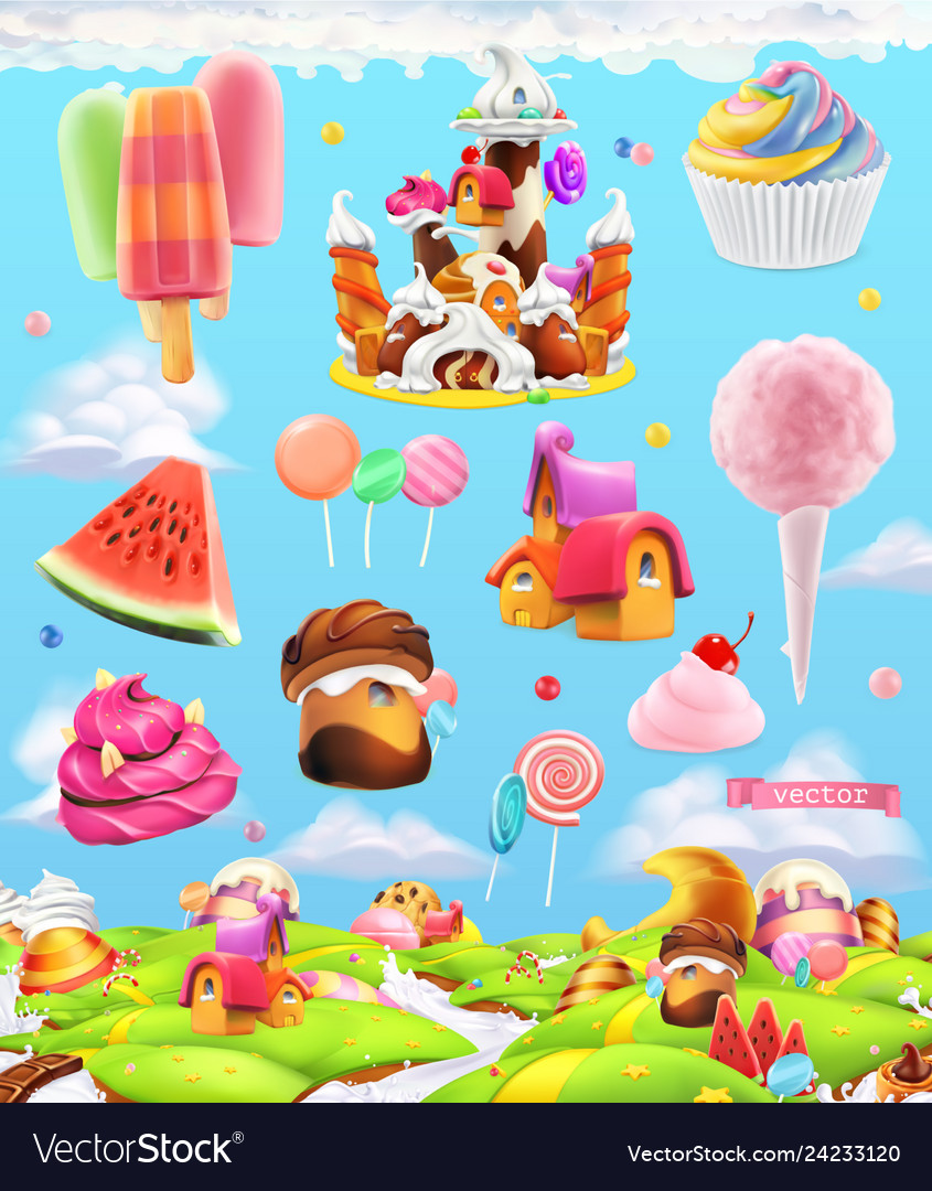 Sweet candy land cartoon game background 3d set
