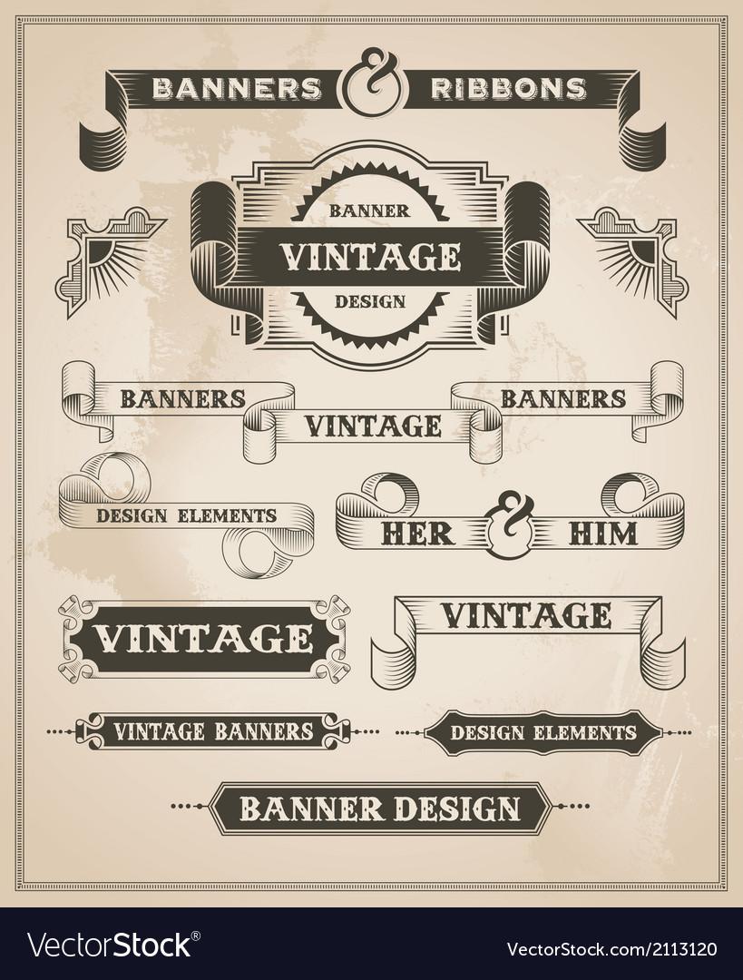 Vintage hand drawn banner and ribbon design set vector image