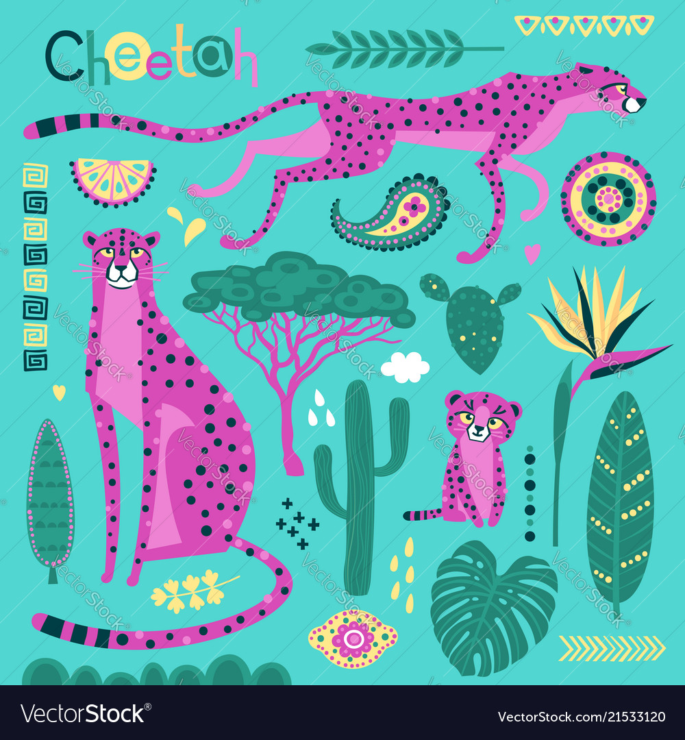 Wild exotic cats tropical plants and ethnic