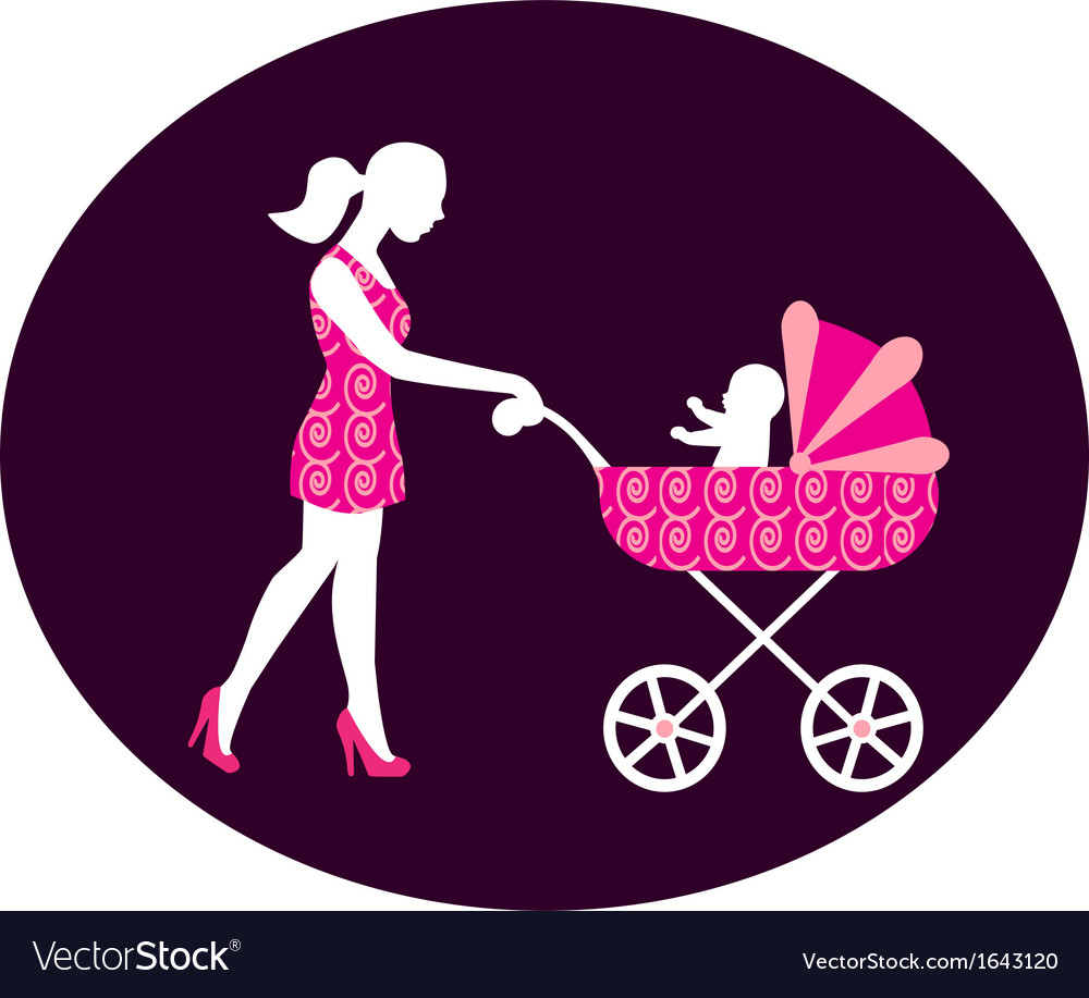 Woman with a stroller vector image