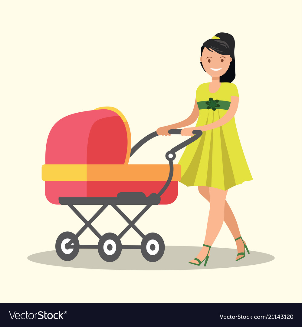 Young mother walking with a newborn that is in the