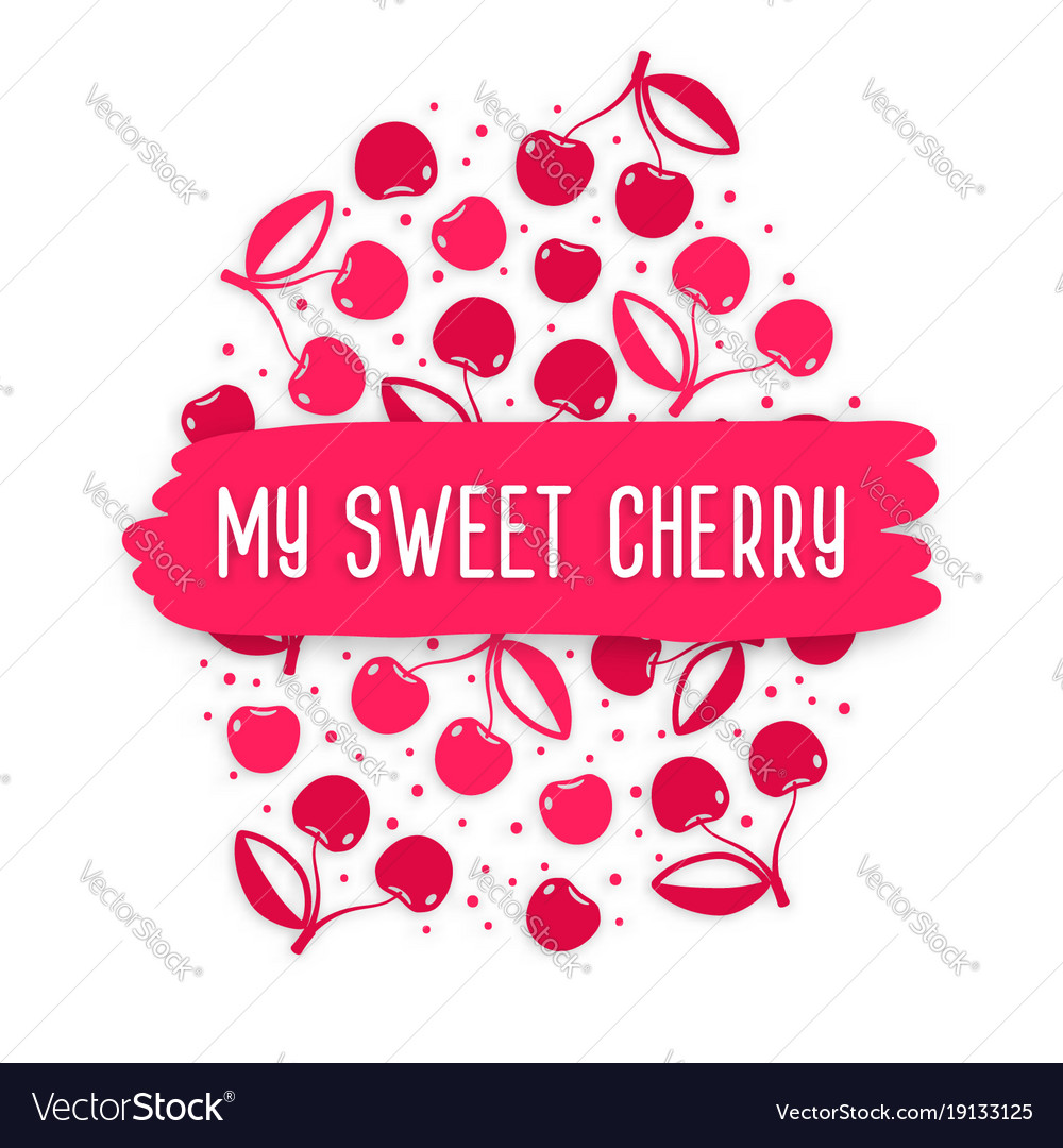 Blank Greeting Card With Cherry Pattern Royalty Free Vector