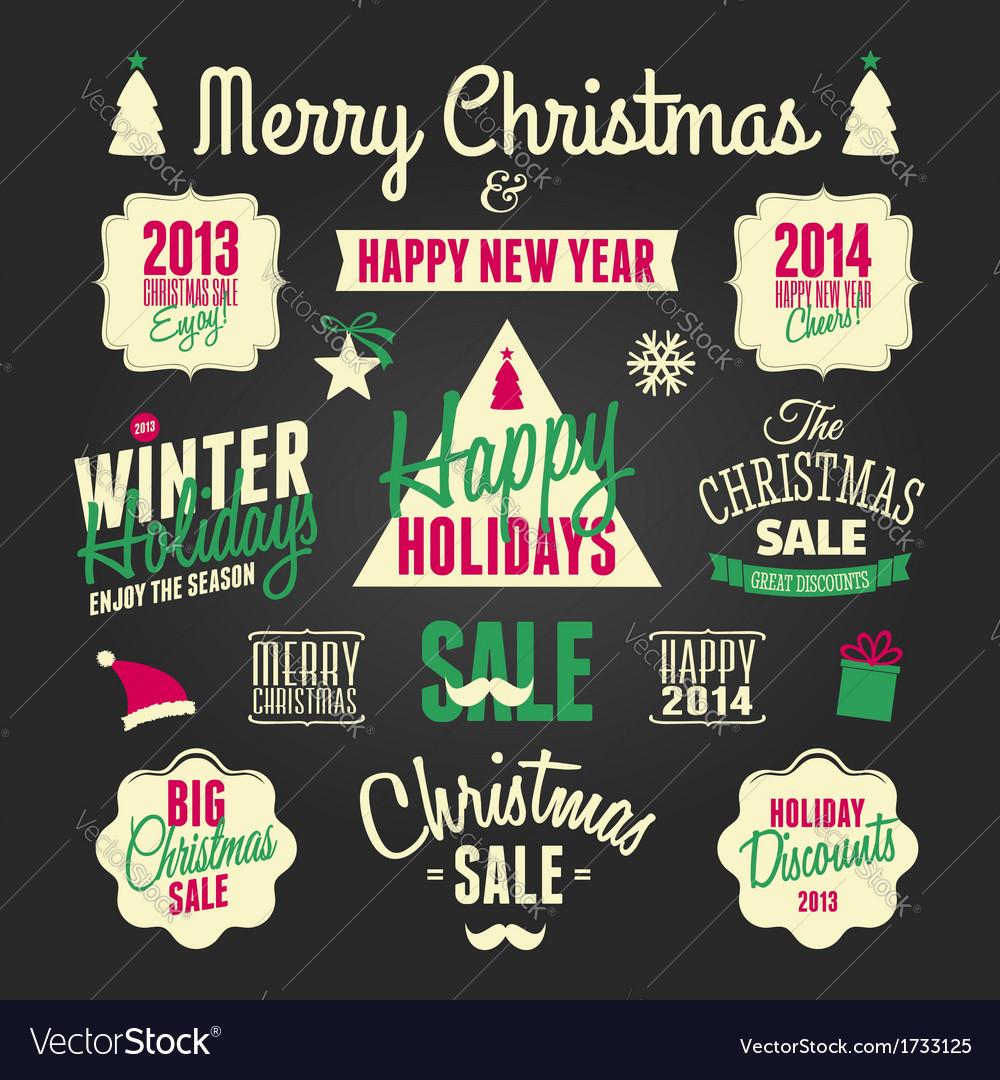 Chalkboard style christmas design elements set