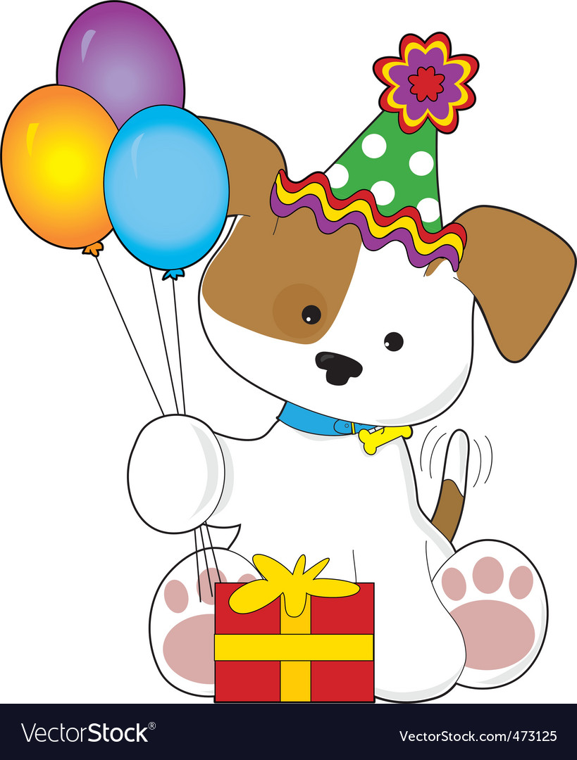 Cute puppy birthday vector image