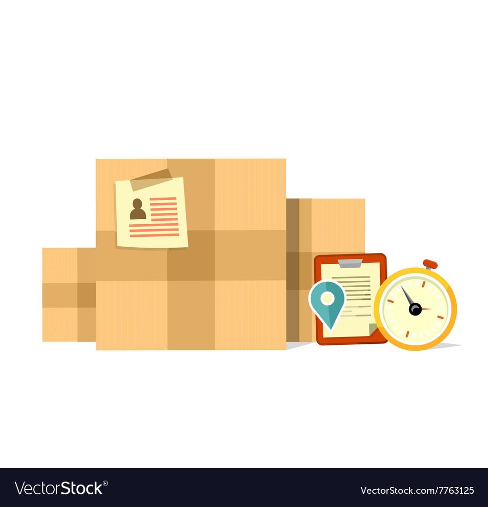 Delivery Box Deadline Design Flat vector image