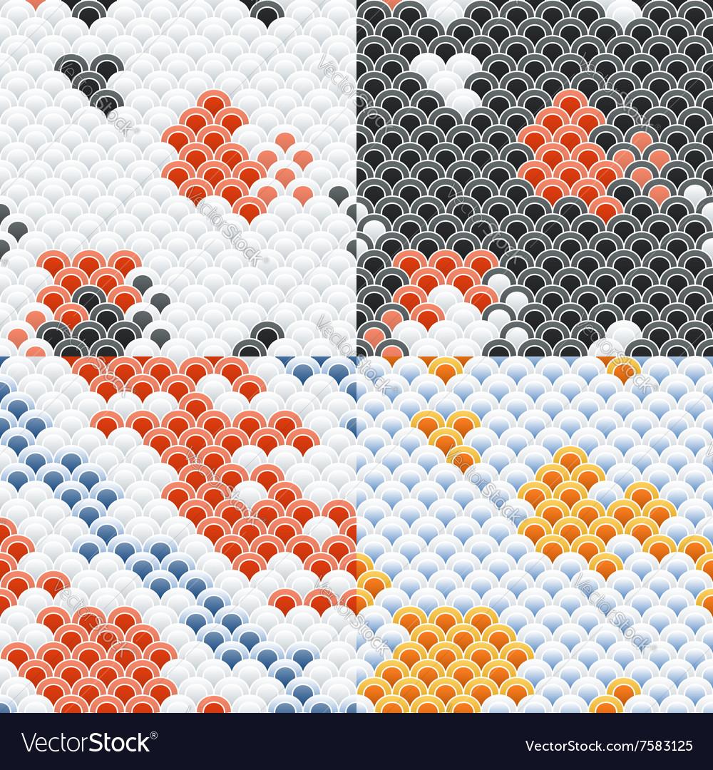 Fish Carp Koi Scales Seamless Pattern Set