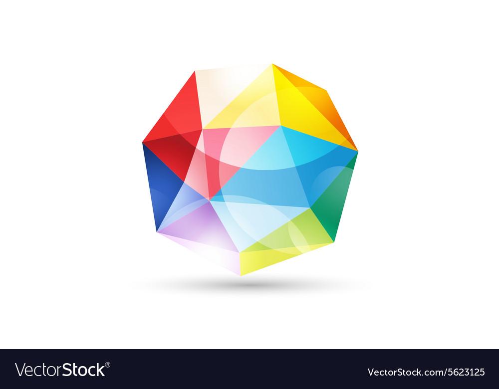 Globe abstract logo template Tetrahedron Vector Image
