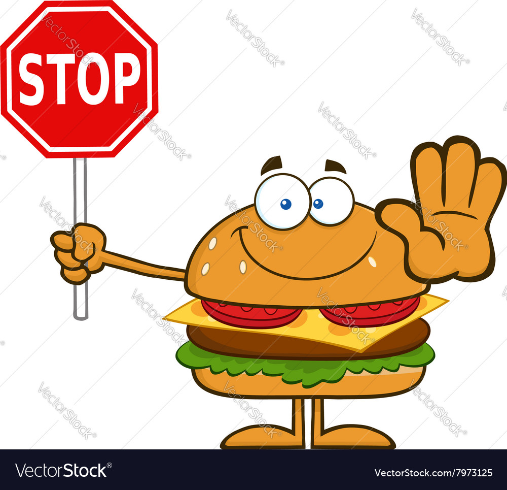 hamburger cartoon holding a stop sign royalty free vector rh vectorstock com stop sign cartoon clip art animated stop sign cartoon