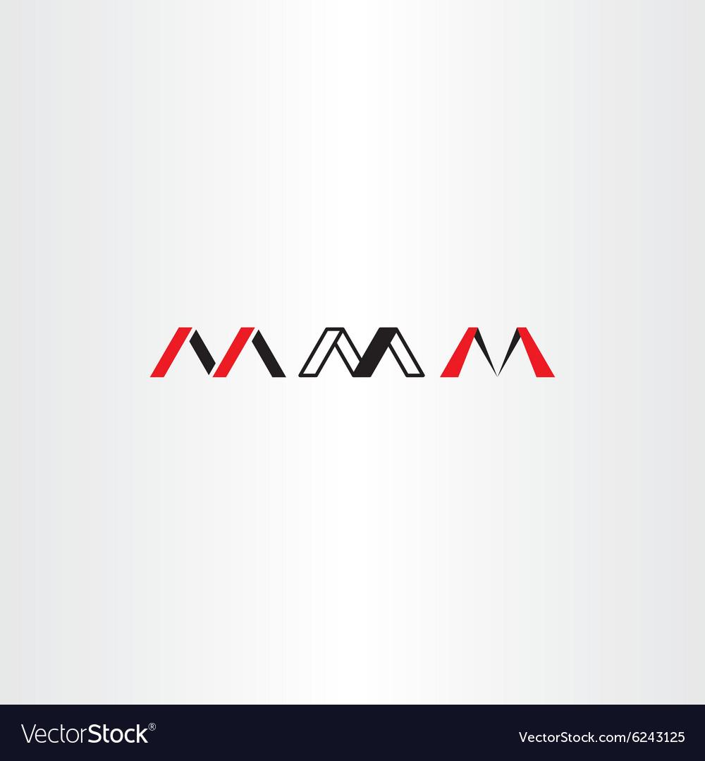 Logo letter m set red black icon
