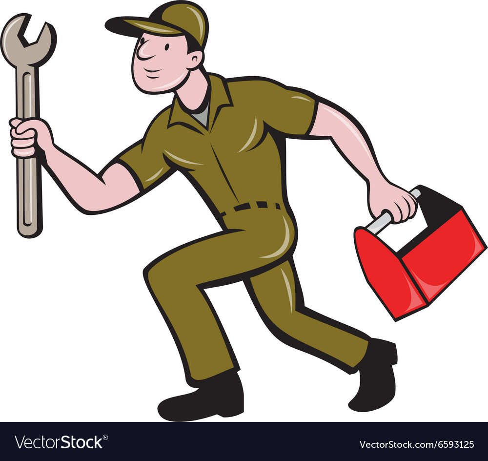 Mechanic Spanner Toolbox Running Isolated Cartoon
