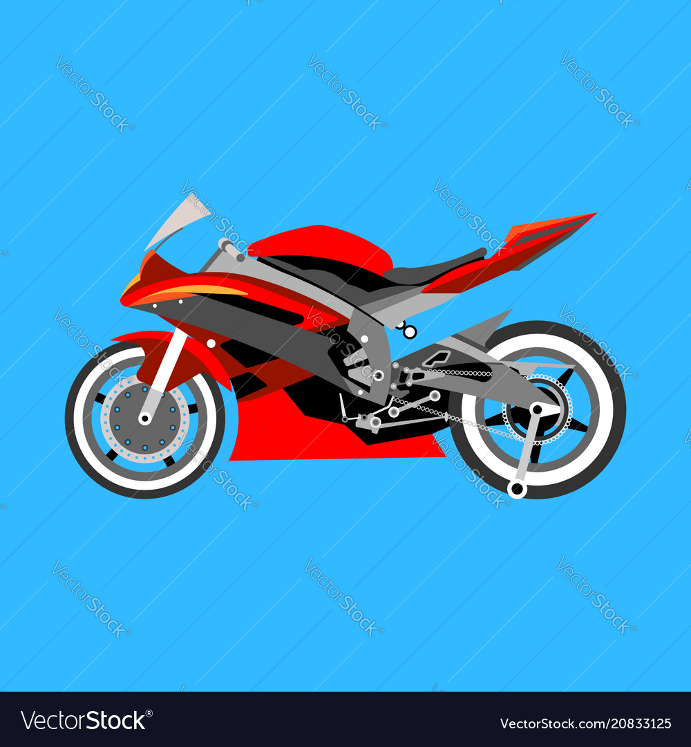 Motorcycle with many details on a blue background