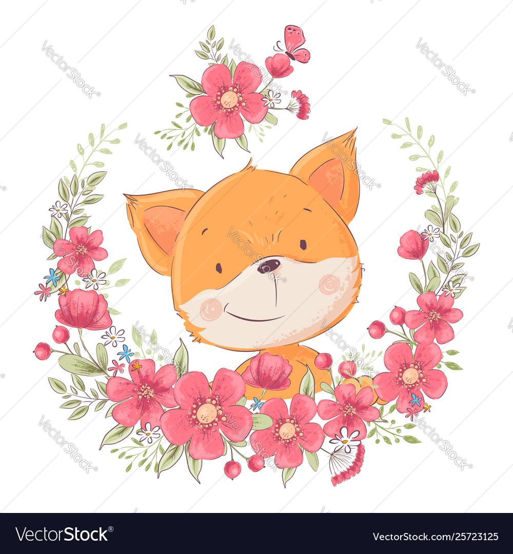 Postcard poster cute little fox in a wreath of
