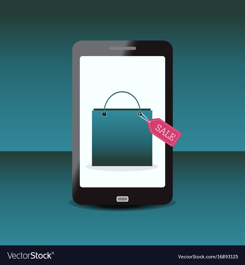 Shopping bag with sale tag on smartphone
