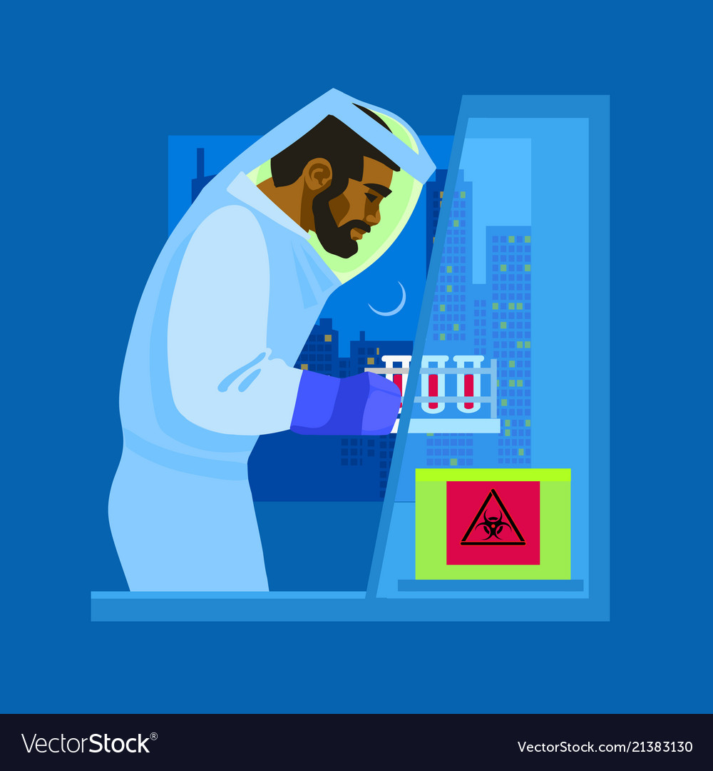 A scientist in biological protective suit working