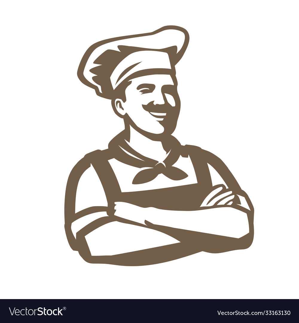 Chef with hat logo restaurant cooking cuisine