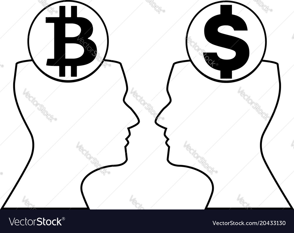 Dollar and bitcoin signs inside of outline