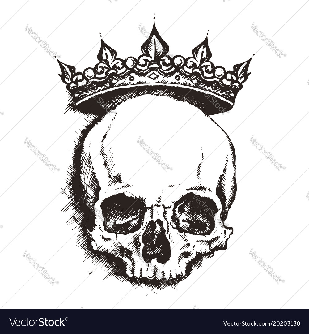 hand drawn sketch skull with crown tattoo line art free skull clipart for commercial use free clip art skull and bones