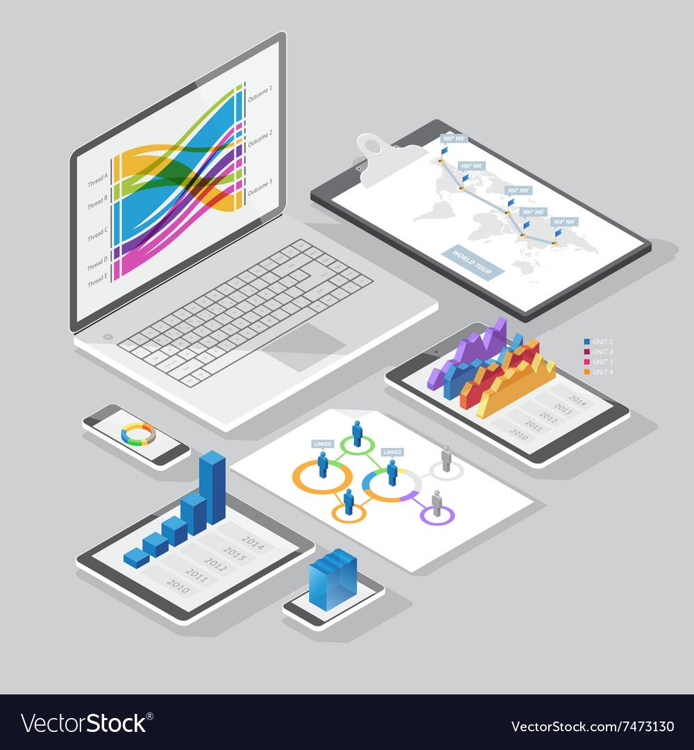Isometric infographics design elements vector image