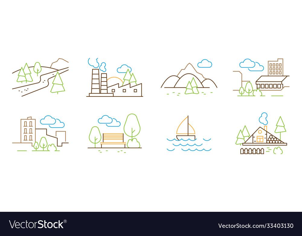 Linear landscape tree hills clouds houses park