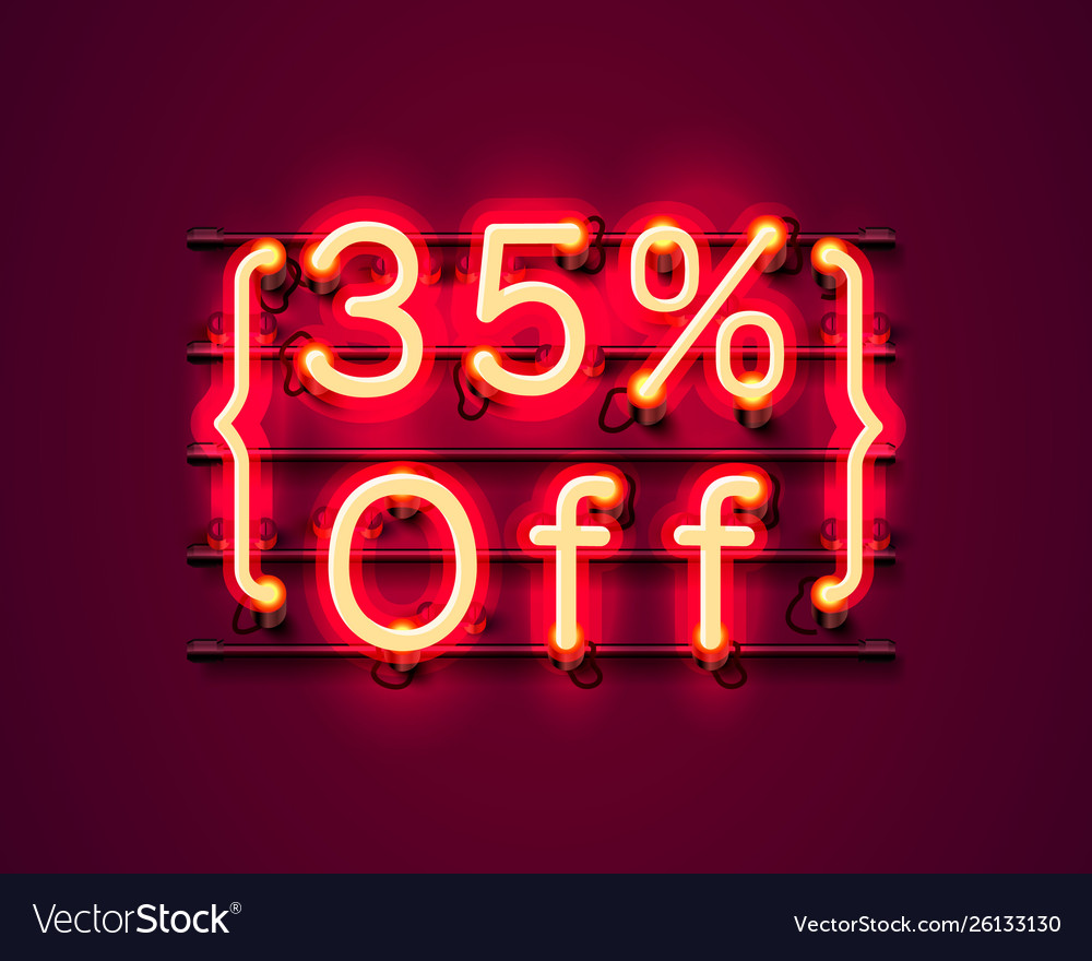 Neon frame 35 off text banner night sign board