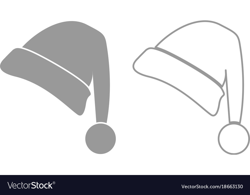 Santa claus christmas hat icon grey set