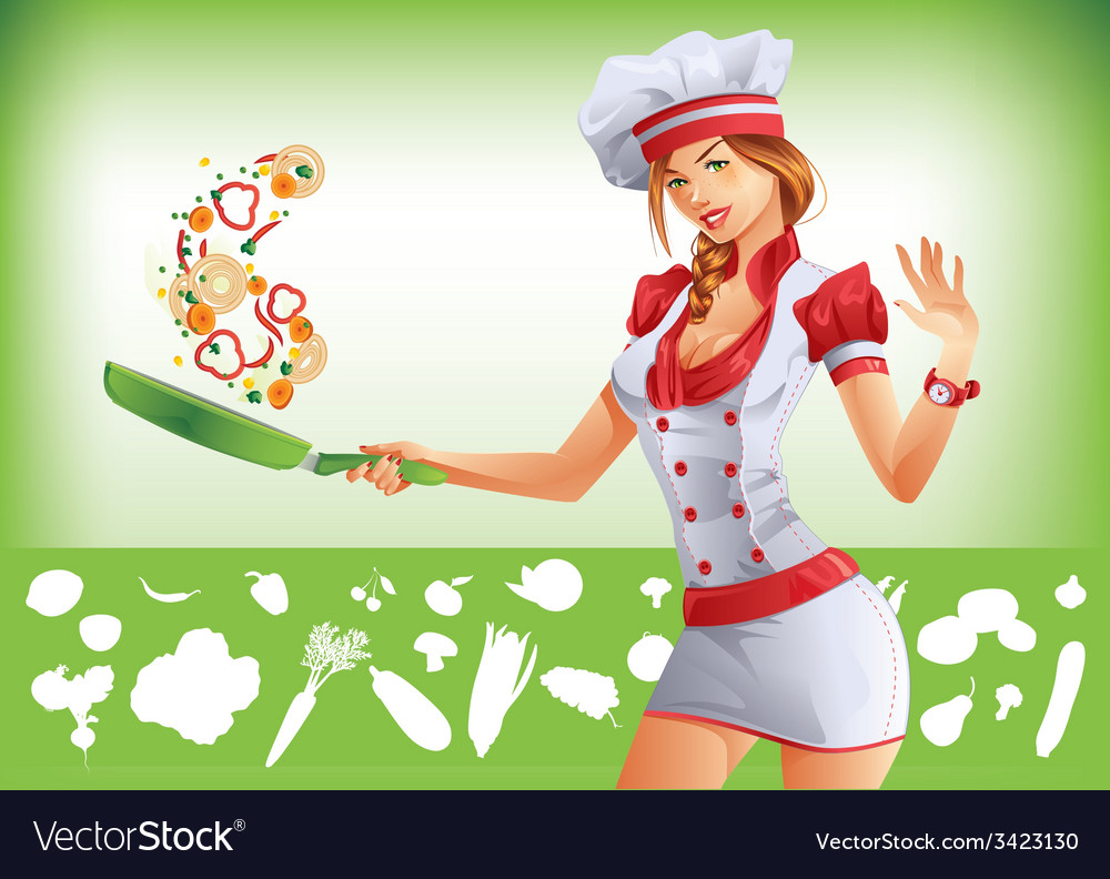 Sexy woman cooking vector image