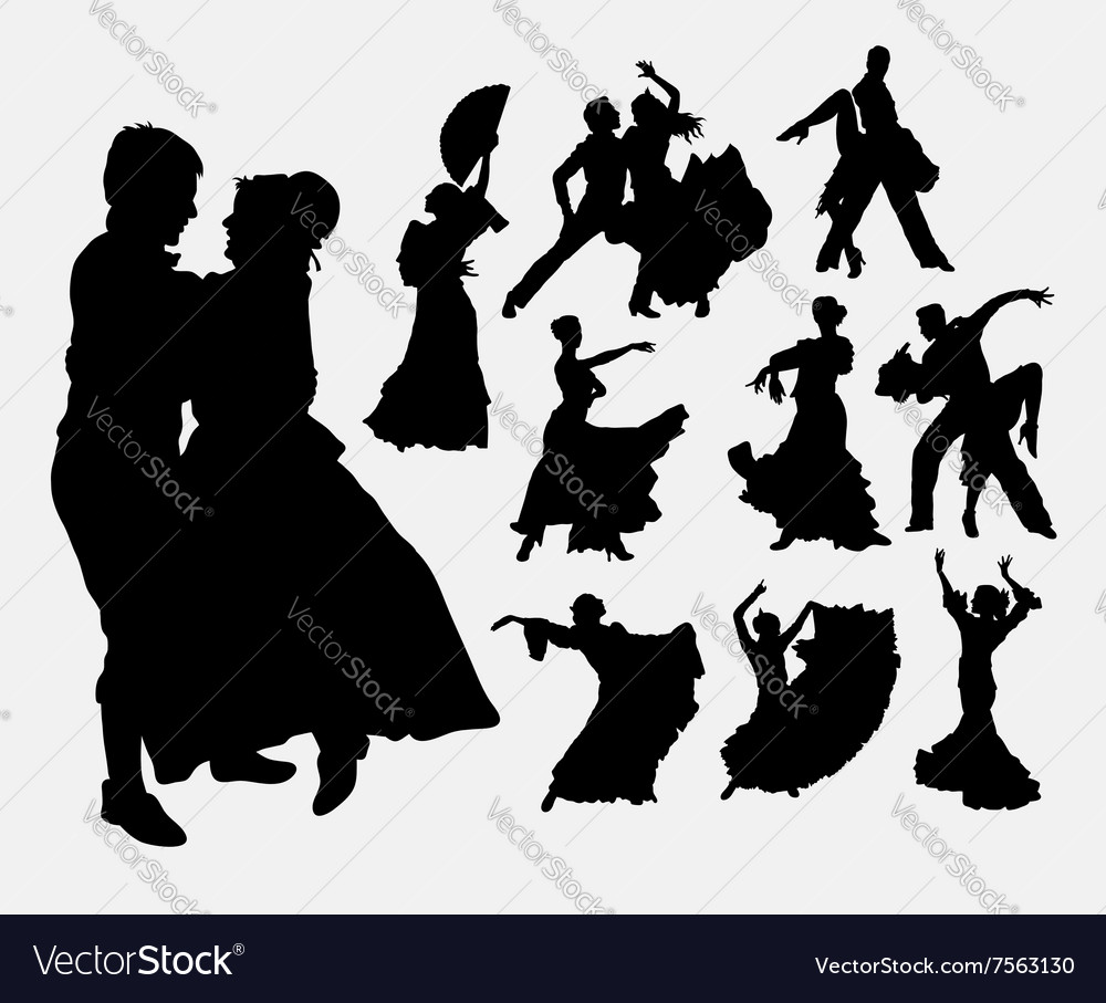 Traditional dance male and female silhouette vector image